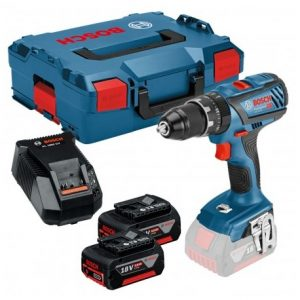 BOSCH GSB 18 V-28 COMBI DRILL INC 2X 5.0AH BATTS IN L-BOXX CARRY CASE