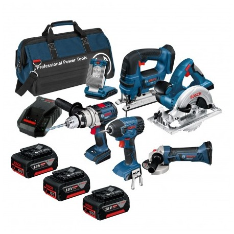 BOSCH BAG+6RS 18V 6 PIECE CORDLESS TOOL KIT WITH 3X 5.0AH IN LBAG
