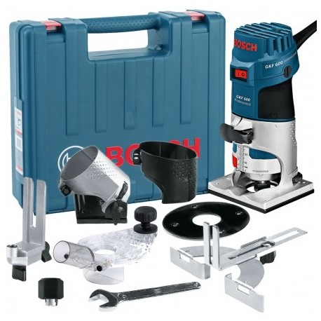 """BOSCH GKF 600 1/4"""" PALM ROUTER/LAMINATE TRIMMER KIT INC EXTRA BASES"""