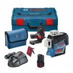 BOSCH GLL 3-80 C 12V MULTI LINE RED LASER INC BM1 MOUNT, 1X 2.0AH BATTERY IN L-BOXX CARRY CASE