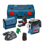 BOSCH GLL 3-80 CG 12V GREEN MULTI LINE LASER INC BM1 MOUNT, 1X 2.0AH BATTERY IN L-BOXX CARRY CASE