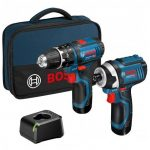 BOSCH GSB 12V-15 COMBI DRILL & GDR 12V-105 IMPACT DRIVER TWIN KIT WITH 2X 2.0AH BATTERIES