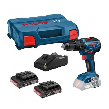 BOSCH GSB 18 V-55 BRUSHLESS COMBI DRILL INC 2X 2.0AH BATTS