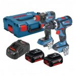 BOSCH GSB 18 V-60 C COMBI & GDX 18 V-200 C IMPACT TWIN KIT INC 2X 5.0AH BATTS