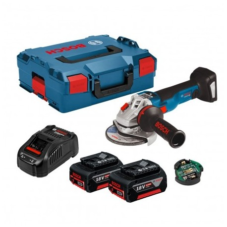 "BOSCH GWS 18 V-10 SC 125MM/5"" ANGLE GRINDER 2X 5.0AH BATTS & CHARGER IN L-BOXX"