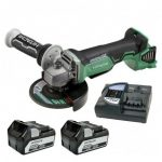 HITACHI G18DBALJJ 18V BRUSHLESS ANGLE GRINDER INC 2X 5.0AH BATTS