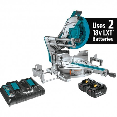MAKITA XSL07PT 18 VOLT X2 LXT BRUSHLESS CORDLESS DUAL MITER SAW WITH LASER KIT