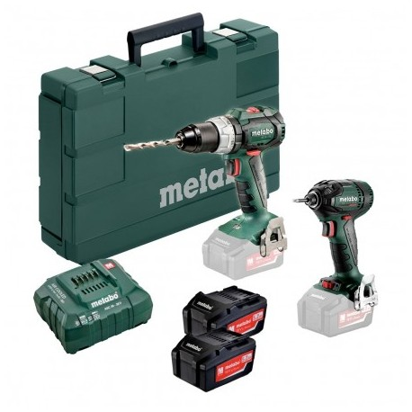 METABO UK685316895 18V COMBI DRILL & IMPACT DRIVER BRUSHLESS COMBO SET INC 2X 5.2AH BATTS