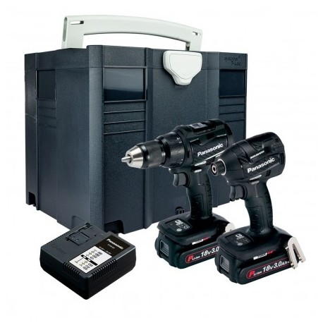 PANASONIC EYC217PN2G31 14.4V/18V COMBI DRILL / IMPACT DRIVER TWIN KIT INC 2X 3.0AH BATTS