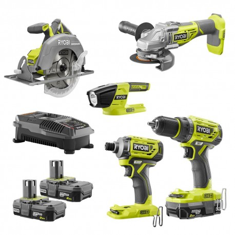 RYOBI 18-Volt ONE+ Cordless 5-Tool Combo Kit with Drill, Circ Saw, Grinder, Impact Driver, (3) 2.0 Ah Batteries, and Charger