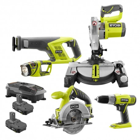 RYOBI 18-Volt ONE+ Lithium-Ion Cordless 5-Tool Combo Kit with (2) 1.5 Ah Batteries and (1) 18-Volt Dual Chemistry Charger