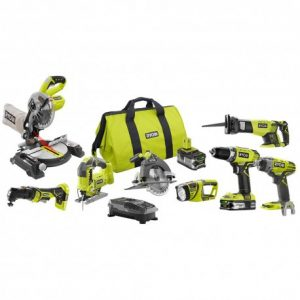 RYOBI 18-Volt ONE+ Lithium-Ion Cordless 8-Tool Combo Kit with (1) 4.0 Ah Battery, (1) 1.5 Ah Battery, 18-Volt Charger, and Bag