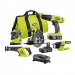 RYOBI 18-Volt ONE+ Lithium-Ion Cordless Drill, Circ Saw, Recip Saw, Sander, and Light 5-Tool Combo,(2) 1.3Ah Batts,Charger,Bag