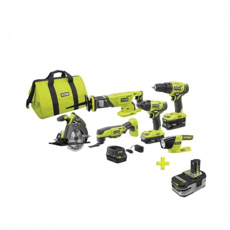 RYOBI 18-Volt ONE+ Lithium-ion Cordless 6-Tool Combo Kit with Free 18-Volt ONE+ 4.0 Ah LITHIUM+ HP High Capacity Battery