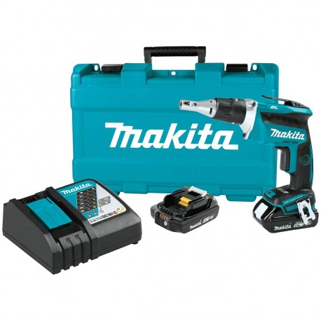 MAKITA XSF03R 18-VOLT 1/4-INCH 2.0AH HEX LITHIUM-ION DRYWALL SCREWDRIVER KIT