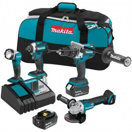 MAKITA XT451T 18-VOLT 4-TOOL 5.0AH DRIVERS / GRINDER / FLASHLIGHT COMBO KIT