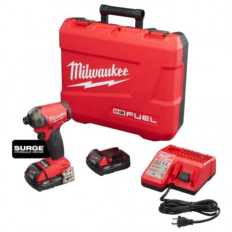 MILWAUKEE 2760-22CT 18-VOLT 1/4-INCH M18 FUEL SURGE HEX HYDRAULIC DRIVER KIT