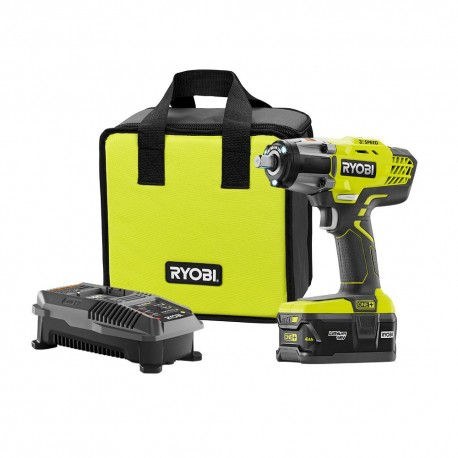 RYOBI 18-Volt ONE+ Lithium-Ion Cordless 3-Speed 1/2 in. Impact Wrench Kit with (1) 4.0 Ah Battery, 18-Volt Charger, and Bag