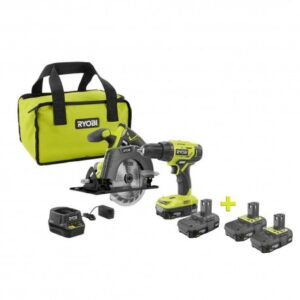 RYOBI 18-Volt ONE+ Lithium-Ion Cordless Combo Kit (2-Tool) with Free 18-Volt ONE+ 2.0 Ah Lithium-Ion Compact Battery (2-Pack)
